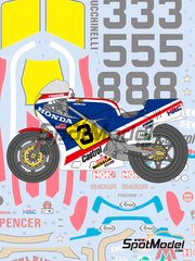 Shunko Models: Marking / livery 1/12 scale - Honda NS500 Castrol #3, 5, 8 - Freddie Spencer (US) - Motorcycle World Championship 1983 - water slide decals and assembly instructions - for Tamiya reference TAM14032 image