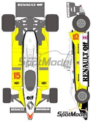 Shunko Models: Marking 1/20 scale - Renault RE30B Turbo ELF #15, 16 - Alain Prost (FR), Rene Arnoux (FR) - World Championship 1982 - water slide decals and assembly instructions - for Tamiya kit TAM20018