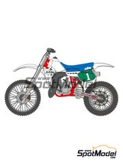 Shunko Models: Decals 1/12 scale - KTM 250MX + Rider Camel #1 1984 - for Tamiya references TAM14046 and TAM14051 image