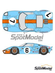 Shunko Models: Marking / livery 1/24 scale - Ford GT40 Gulf #6, 7 - 24 Hours Le Mans 1969 - for Fujimi kit