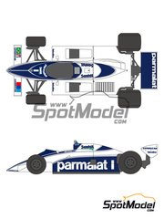 Shunko Models: Marking / livery 1/20 scale - Brabham BT50 Parmalat #1, 2 - Nelson Piquet (BR), Riccardo Patrese (IT) - World Championship 1982 - water slide decals and assembly instructions - for Tamiya reference TAM20017 image