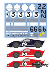 Shunko Models: Marking / livery 1/24 scale - Ford GT40 Mk II #2, 3, 6 - Bruce McLaren (NZ) + Chris Amon (NZ), Dan Gurney (US) + Jerry Grant (US), Mario Andretti (US) + Lucien Bianchi (BE) - 24 Hours Le Mans 1966 - water slide decals and assembly instructions - for Fujimi references FJ12101, FJ12125, FJ126043 and FJ126067 image