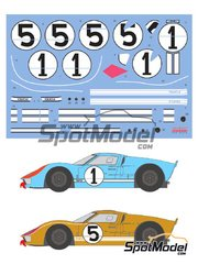 Shunko Models: Marking / livery 1/24 scale - Ford GT40 Mk II #1, 5 - 24 Hours Le Mans 1966 - water slide decals and assembly instructions - for Fujimi references FJ12101, FJ12125, FJ126043 and FJ126067