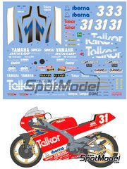 Shunko Models: Marking / livery 1/12 scale - Yamaha TZ250M Telkor #3, 31 - Pierfrancesco Chili (IT), Tetsuya Harada (JP) - Motorcycle World Championship 1993 - water slide decals and assembly instructions - for Tamiya reference TAM14064 image