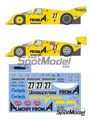 Shunko Models: Marking / livery 1/24 scale - Porsche 962C From A #27 - Harald Grohs (DE) + Akahiko Nakaya (JP), Hideki Okada (JP) + Stanley Dickens (SE) - 24 Hours Le Mans 1988 and 1989 - water slide decals and assembly instructions - for Hasegawa references 20280, 20283, 20318, 20337, 20345 and 20363, or Model Factory Hiro reference MFH-K136, or Profil24 reference P24010, or Revell reference REV07251, or SpotModel reference DISCONTINUED-022, or Tamiya references TAM24089, TAM24233 and TAM24313