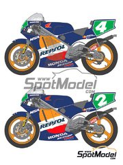 Shunko Models: Marking / livery 1/24 scale - Honda NSR250 Repsol #2, 4 - Carlos Cardus (ES) - Motorcycle World Championship 1990 and 1991 - water slide decals and assembly instructions - for Tamiya reference TAM14059 image