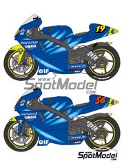 Shunko Models: Decals 1/12 scale - Yamaha YZR500 Gauloises #19, 56 - Olivier Jacque (FR), Shinya Nakano (JP) - Motorcycle World Championship 2001 and 2002 - for Tamiya kit