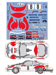 Shunko Models: Marking / livery 1/24 scale - Toyota Celica GT-Four WRC Marlboro Repsol #8 - Carlos Sainz (ES) + Luis Moya (ES) - Safari Rally 1992 - water slide decals and assembly instructions - for Tamiya reference TAM24119 image