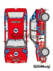 Shunko Models: Marking / livery 1/24 scale - Lancia Delta HF Integrale 16v Martini Racing #1, 5 - Massimo 'Miki' Biasion (IT) + Tiziano Siviero (IT), Didier Auriol (FR) + Bernard Occelli (FR) - Sanremo Rally - water slide decals and assembly instructions - for Hasegawa references 20289, 25208 and HACR08, or Italeri reference ITA3689 image