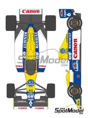 Shunko Models: Marking / livery 1/20 scale - Williams Renault FW13B Canon #5, 6 - Riccardo Patrese (IT), Thierry Boutsen (BE) - FIA Formula 1 World Championship 1990 - water slide decals and assembly instructions - for Tamiya references TAM20025 and 20025