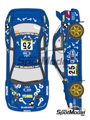Shunko Models: Decals 1/24 scale - Subaru Impreza WRC Spike #25 - Toshihiro Arai (JP) + Roger Freeman (GB) - Catalunya Costa Dorada RACC Rally 2000 - for Tamiya reference TAM24227