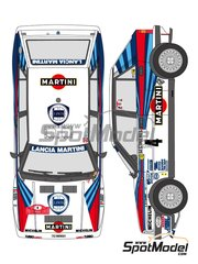 Shunko Models: Marking / livery 1/24 scale - Lancia Delta HF Integrale 8V Martini #1, 4, 6 - Bruno Saby (FR) + Jean-Francois Fauchille (FR), Didier Auriol (FR) + Bernard Occelli (FR), Massimo 'Miki' Biasion (IT) + Tiziano Siviero (IT) - Montecarlo Rally - Rallye Automobile de Monte-Carlo 1989 - water slide decals and assembly instructions - for Hasegawa reference 20289