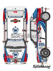 Shunko Models: Marking / livery 1/24 scale - Lancia Delta HF Integrale 16V Martini #1, 4, 7 - Didier Auriol (FR) + Bernard Occelli (FR), Juha Kankkunen (FI) + Juha Piironen (FI), Tiziano Siviero (IT) + Massimo 'Miki' Biasion (IT) - Montecarlo Rally - Rallye Automobile de Monte-Carlo 1990 - water slide decals and assembly instructions - for Hasegawa references 20289 and 25208 image
