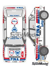 Shunko Models: Marking / livery 1/24 scale - Lancia Delta HF 16v Fina #1 - Bernard Occelli (FR) + Didier Auriol (FR) - Sanremo Rally 1991 - water slide decals and assembly instructions - for Hasegawa references 20289, 20343, 25005, CR-5, 25005 and CR-5