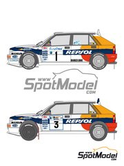 Shunko Models: Marking 1/24 scale - Lancia Delta HF 16v  Repsol #1, 3 - Carlos Sainz (ES) - Acropolis rally, Montecarlo Rally 1993 - water slide decals and assembly instructions - for Hasegawa kit HACR13