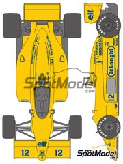 Shunko Models: Marking / livery 1/20 scale - Lotus Honda 99T De Longhi Camel #11, 12 - Ayrton Senna (BR), Satoru Nakajima (JP) - FIA Formula 1 World Championship 1987 - water slide decals and assembly instructions - for Tamiya references TAM20020 and TAM20057 image