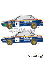 Shunko Models: Marking / livery 1/24 scale - Subaru Legacy RS Rothmans #6, 11, 21 - Markku Alén (FI) + Ilkka Kivimäki (FI), Ari Vatanen (FI) + Bruno Berglund (SE), Colin McRae (GB) + Derek Ringer (GB) - Great Britain RAC Rally 1991 - water slide decals and assembly instructions - for Hasegawa references 20290 and 20311 image