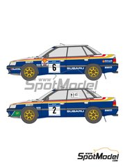 Shunko Models: Decoración escala 1/24 - Subaru Legacy RS 555 Subaru World Rally Team Nº 2, 6 - Colin McRae (GB) + Derek Ringer (GB), Francois Chatriot (FR) + Michel Perin (FR) - Rally de Inglaterra RAC 1991 - calcas de agua y manual de instrucciones - para kit de Hasegawa 25007