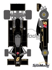 Shunko Models: Marking / livery 1/20 scale - Lotus Ford Type 78 John Player Special Lotus Team #5, 6 - Mario Andretti (US), Gunnar Nilsson (SE) - FIA Formula 1 World Championship 1977 - water slide decals and assembly instructions - for Tamiya references TAM20004 and TAM20065 image