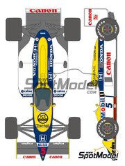Shunko Models: Marking / livery 1/20 scale - Williams Honda FW11B Canon Mobil1 #5, 6 - Nigel Ernest James Mansell (GB), Riccardo Patrese (IT) - FIA Formula 1 World Championship 1987 - water slide decals and assembly instructions - for Tamiya reference TAM20019 image