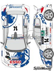 Shunko Models: Marking / livery 1/24 scale - Peugeot 206 WRC Works Team #14, 15 - Francois Delecour (FR) + Daniel Grataloup (FR), Gilles Panizzi (FR) + Hervé Panizzi (FR) - Tour de Corse 1999 - water slide decals and assembly instructions - for Tamiya reference TAM24221 image