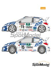 Shunko Models: Marking / livery 1/24 scale - Peugeot 206 WRC Peugeot Works Team #14, 15, 16, 21 - Francois Delecour (FR) + Daniel Grataloup (FR), Gilles Panizzi (FR) + Hervé Panizzi (FR), Marcus Grönholm (FI) + Timo Rautiainen (FI) - 1000 Lakes Finland Rally, Sanremo Rally 1999 - water slide decals and assembly instructions - for Tamiya references TAM24221 and 24221