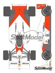 Shunko Models: Decoración escala 1/12 - McLaren Honda MP4/6 Marlboro Nº 1, 2 - Ayrton Senna (BR), Gerhard Berger (AT) - Campeonato del Mundo de Formula1 1991 - calcas de agua y manual de instrucciones - para las referencias de Tamiya TAM89721 y 89721