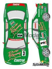 Shunko Models: Decoración escala 1/24 - Nissan Primera Castrol Pure Racing Nº 3 - Masahiro Hasemi (JP) - Campeonato Japones de Turismos (JTCC) 1994 - calcas de agua y manual de instrucciones - para las referencias de Tamiya TAM24142 y 24142