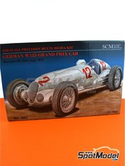 Southern Cross Miniatures: Model car kit 1/20 scale - Mercedes-Benz W125 #12, 14, 18, 20 - Rudolf Caracciola (DE) + Manfred von Brauchitsch (DE) + Herman Lang (DE) + Richard Seaman (DE) + Christian Kautz (DE) - German Grand Prix 1937 - photo-etched parts, plastic parts, resin parts, rubber parts, turned metal parts, water slide decals, other materials, assembly instructions and painting instructions