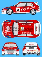 SpotModel: Marking / livery 1/24 scale - Toyota Corolla WRC Fortuna #2 - Carlos Sainz (ES) - Orense Rally 1999 - water slide decals and assembly instructions - for Tamiya kit TAM24209