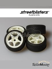 StreetBlisters: Rims and tyres set 1/24 scale - SB-EVO - plastic parts, rubber parts and water slide decals - 4 units