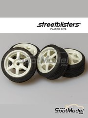 StreetBlisters: Rims and tyres set 1/24 scale - SB-37 - plastic parts, rubber parts and water slide decals - 4 units