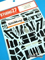 Studio27: Carbon fibre pattern decal 1/20 scale - Ferrari F138 Banco Santander #3, 4 - Fernando Alonso (ES), Felipe Massa (BR) - FIA Formula 1 World Championship 2013 - Carbon pattern decal - for Fujimi references FJ09176, 091761, 09176 and GP-56