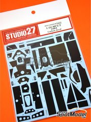 Studio27: Carbon fibre pattern decal 1/20 scale - McLaren MP4/2 TAG Porsche 1984 - water slide decals and assembly instructions - for Aoshima kit AOS08189