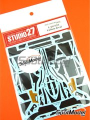 Studio27: Carbon fibre pattern decal 1/20 scale - Tyrrell Yamaha 023 - water slide decals and assembly instructions - for Tamiya reference TAM20042