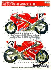 Studio27: Marking / livery 1/12 scale - Ducati 888 Dunlop #23 - Doug Polen (US) - Superbike World Championship 1991 - water slide decals and assembly instructions - for Tamiya reference TAM14063