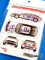 Studio27: Marking / livery 1/24 scale - Toyota Celica GT-Four ST165 Fina #15 - Klaus Wicha (DE) + Marc Duez (BE) - Alsace France Rally 1991 - water slide decals and assembly instructions - for Beemax Model Kits reference B24001