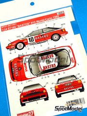 Studio27: Decals 1/24 scale - Toyota Celica GT-Four ST165 Bastos #10 - Patrick Snijers (BE) + Dany Colebunders (BE) - Montecarlo Rally 1989 - for Beemax Model Kits kit B24001
