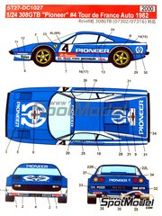 Studio27: Marking 1/24 scale - Ferrari 308 GTB Pionner Rothmans #4 - Jean-Claude Andruet (FR) + Michele 'Biche' Espinosi-Petit (FR) - Tour de France Automobile 1982 - water slide decals and assembly instructions - for Revell kits REV07302 and REV07316