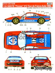 Studio27: Marking / livery 1/24 scale - Ferrari 308 GTB Pionner #12 - Jean-Claude Andruet (FR) + Michele 'Biche' Espinosi-Petit (FR) - Tour de France Automobile 1982 - water slide decals and assembly instructions - for Revell kits REV07302 and REV07316 image