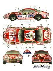 Studio27: Marking / livery 1/24 scale - Renault Alpine A110 BIC #73 - Marianne Hoepfner (FR) + Yveline Vanoni (FR) - Tour de France Automobile 1972 - water slide decals and assembly instructions - for Tamiya reference TAM24278