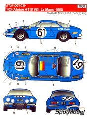 Studio27: Marking / livery 1/24 scale - Renault Alpine A110 Ecure Leopard #61 - 24 Hours Le Mans 1968 - water slide decals and assembly instructions - for Tamiya reference TAM24278
