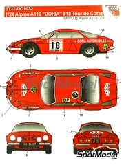 Studio27: Marking / livery 1/24 scale - Renault Alpine A110 Doria #18 - Tour de Corse 1972 - water slide decals and assembly instructions - for Tamiya reference TAM24278