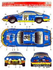 Studio27: Decals 1/24 scale - Renault Alpine A110 BIC #95 - Jacques Marquet (FR) + F. Paoletti (FR) - Alsace France Rally 1972 - for Tamiya reference TAM24278
