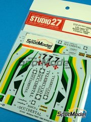 Studio27: Decoración escala 1/20 - Williams Ford FW07 Ram Racing - Banco Occidental Nº 7 - Emilio de Villota (ES) - British F1 Series 1980 - calcas de agua - para la referencia de Tamiya TAM20014