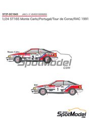 Studio27: Decals 1/24 scale - Toyota Celica GT-Four ST165 Marlboro #2 - Carlos Sainz (ES) + Luis Moya (ES) - Portugal Rally, Tour de Corse 1991 - for Aoshima kits AOSH-081198 and AOSH-084229