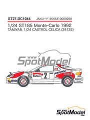 Studio27: Marking / livery 1/24 scale - Toyota Celica Marlboro Repsol #2, 6, 10 - Carlos Sainz (ES) + Luis Moya (ES), Armin Schwarz (DE) + Arne Hertz (SE), Markku Alén (FI) + Ilkka Kivimäki (FI) - Montecarlo Rally 1992 - water slide decals and assembly instructions - for Tamiya reference TAM24125 image