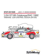 Studio27: Marking / livery 1/24 scale - Toyota Celica Marlboro #4 - Carlos Sainz (ES) + Luis Moya (ES), Armin Schwarz (DE) + Arne Hertz (SE), Markku Alén (FI) + Ilkka Kivimäki (FI) - Catalunya Costa Dorada RACC Rally, RAC Rally 1992 - water slide decals, assembly instructions and painting instructions - for Tamiya reference TAM24125