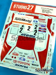 Studio27: Marking / livery 1/24 scale - Toyota Celica GT Four ST165 Repsol #2 - Carlos Sainz (ES) + Luis Moya (ES) - RAC Rally, Montecarlo Rally, Tour de Corse 1990 - water slide decals and assembly instructions - for Beemax Model Kits reference B24001