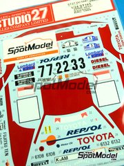 Studio27: Decals 1/24 scale - Toyota Celica GT Four ST165 Repsol Marlboro #2, 3, 7 - Carlos Sainz (ES) + Luis Moya (ES) - 1000 Lakes Finland Rally, Sanremo Rally 1989 - for Beemax Model Kits kit B24001